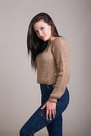 Светр жіночий в'язаний шнурівка з металевими кільцями Туреччина, фото 5