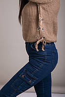 Свитер женский вязанный шнуровка с металлическими кольцами Турция, фото 6