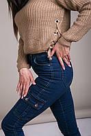 Свитер женский вязанный шнуровка с металлическими кольцами Турция, фото 7