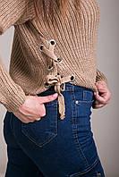Свитер женский вязанный шнуровка с металлическими кольцами Турция, фото 8