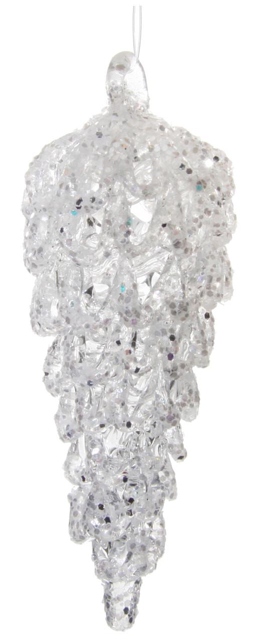 Скляна шишка біла з гліттером 9см