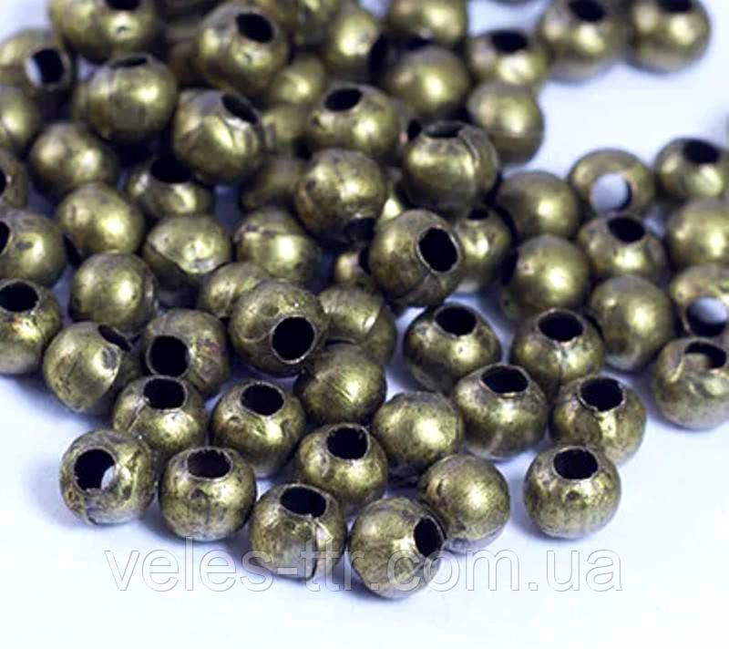 Бусина спейсер Шар металлическая разделитель бронза 3 мм 50 шт железо