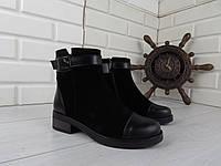"""Ботинки, ботильоны, черные ДЕМИ """"Joline"""" НАТУРАЛЬНАЯ КОЖА + ЗАМША качественная, повседневная женская обувь"""