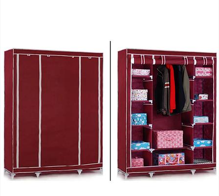 Шкаф тканевый складной STORAGE WARDROBE 88130 на 3 секции 130х45х175 см Коричневый, фото 2