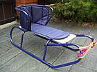 Санки детские Basic со спинкой и матрасиком синие для детей, фото 2