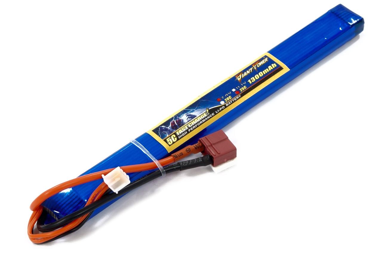 Аккумулятор для страйкбола Giant Power (Dinogy) Li-Pol 7.4V 2S 1300mAh 25C 12х17х190мм T-Plug