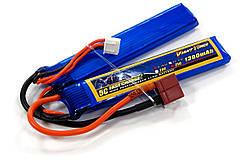 Акумулятор для страйкболу Giant Power Li-Pol 7.4 V 2S 1300mAh 25C 2 пелюстки 7.5х18х96мм T-Plug