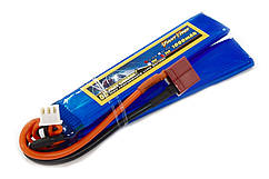 Аккумулятор для страйкбола Giant Power (Dinogy) Li-Pol 7.4V 2S 1000mAh 25C 2 лепестка 5.5х20х103мм T-Plug
