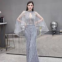 Свадебное Вечерние платье. Весільна Вечірня сукня срібна з накидкою. Расшитое серебристое платье ручной работы