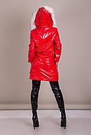 Пальто женское лаковое с меховым воротником Турция, фото 2