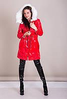 Пальто женское лаковое с меховым воротником Турция, фото 3
