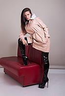 Пальто женское лаковое с меховым воротником Турция, фото 4