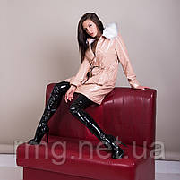 Пальто женское лаковое с меховым воротником Турция, фото 5