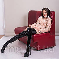 Пальто женское лаковое с меховым воротником Турция, фото 6