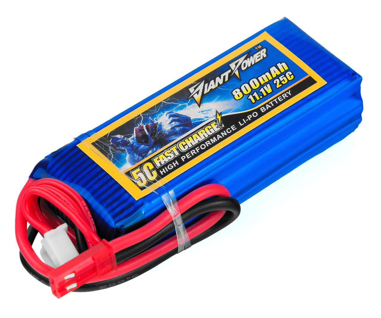 Аккумулятор Giant Power (Dinogy) Li-Pol 800mAh 11.1V 3S 25C 17x25x68мм JST