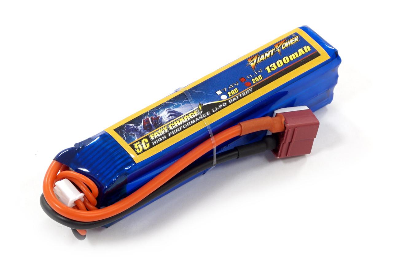Аккумулятор для страйкбола Giant Power (Dinogy) Li-Pol 11.1V 3S 1300mAh 25C 24х20х96мм T-Plug