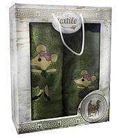 Подарочный набор банных полотенец 2шт  с мышками Турция