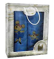 Подарочный новогодний набор банных полотенец 2шт  с мышками Турция