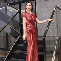 Червона розкішна розшита  вечірня сукня. Облегающее вечерние платье рыбка