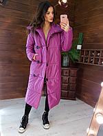 Зимняя длинная куртка пальто женская малиновая