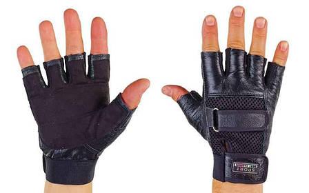Рукавички спортивні багатоцільові BC-122 (шкіра, об.пальці, р-р M, чорний), фото 2
