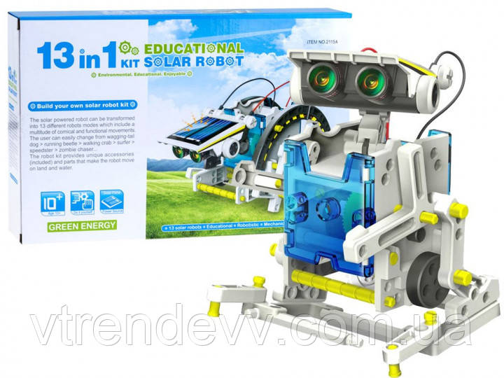 Конструктор Робот 13 в 1 с солнечной панелью и моторчиком SOLAR ROBOT 2115A
