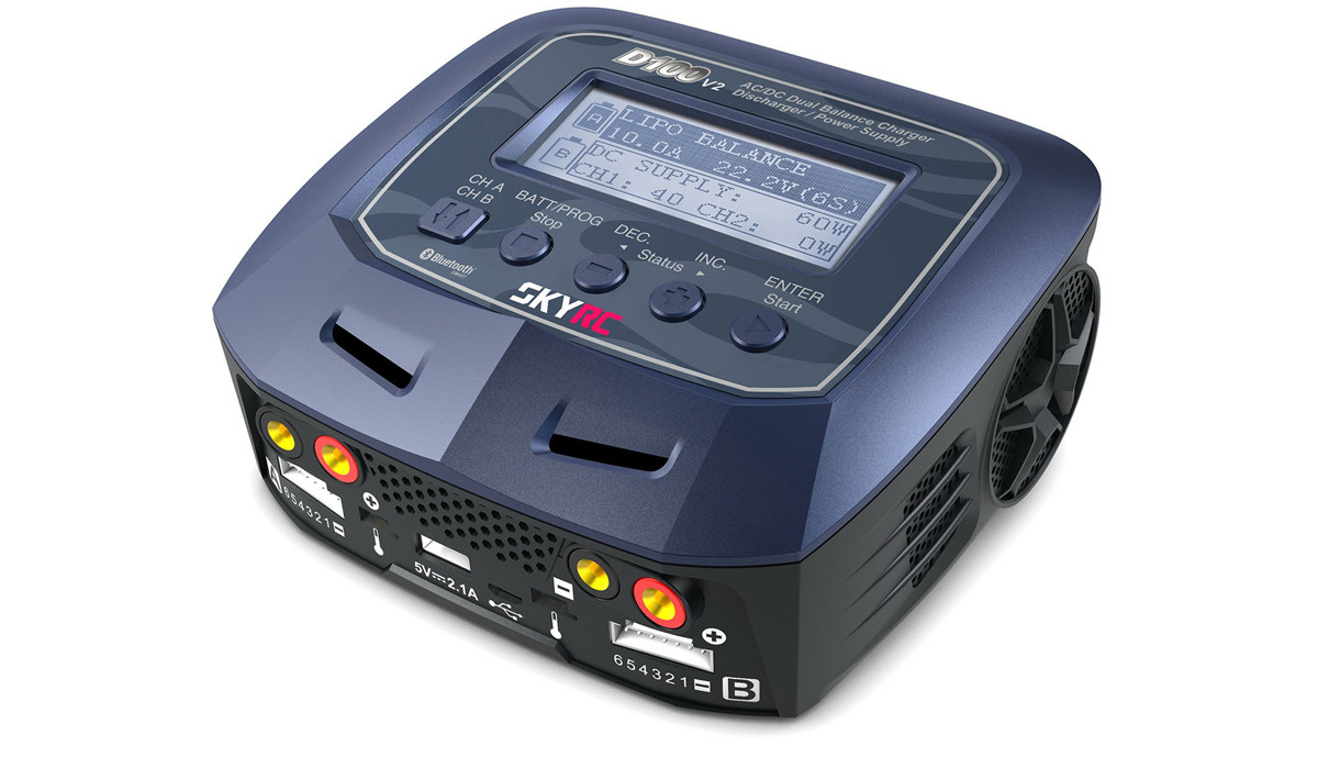 Зарядное устройство дуо SkyRC D100 V2 10A/100WxAC/200WxDC с/БП универсальное (SK-100131)