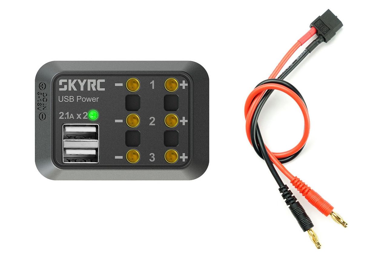 Разветвитель питания SkyRC SK-600114-01 с USB (бананы)