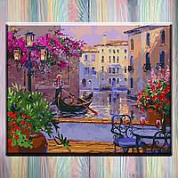 """Картина по номерам без коробки ТМ Идейка - Городской пейзаж """"Чарующая Венеция"""" 50*40 см, холст на подрамнике"""