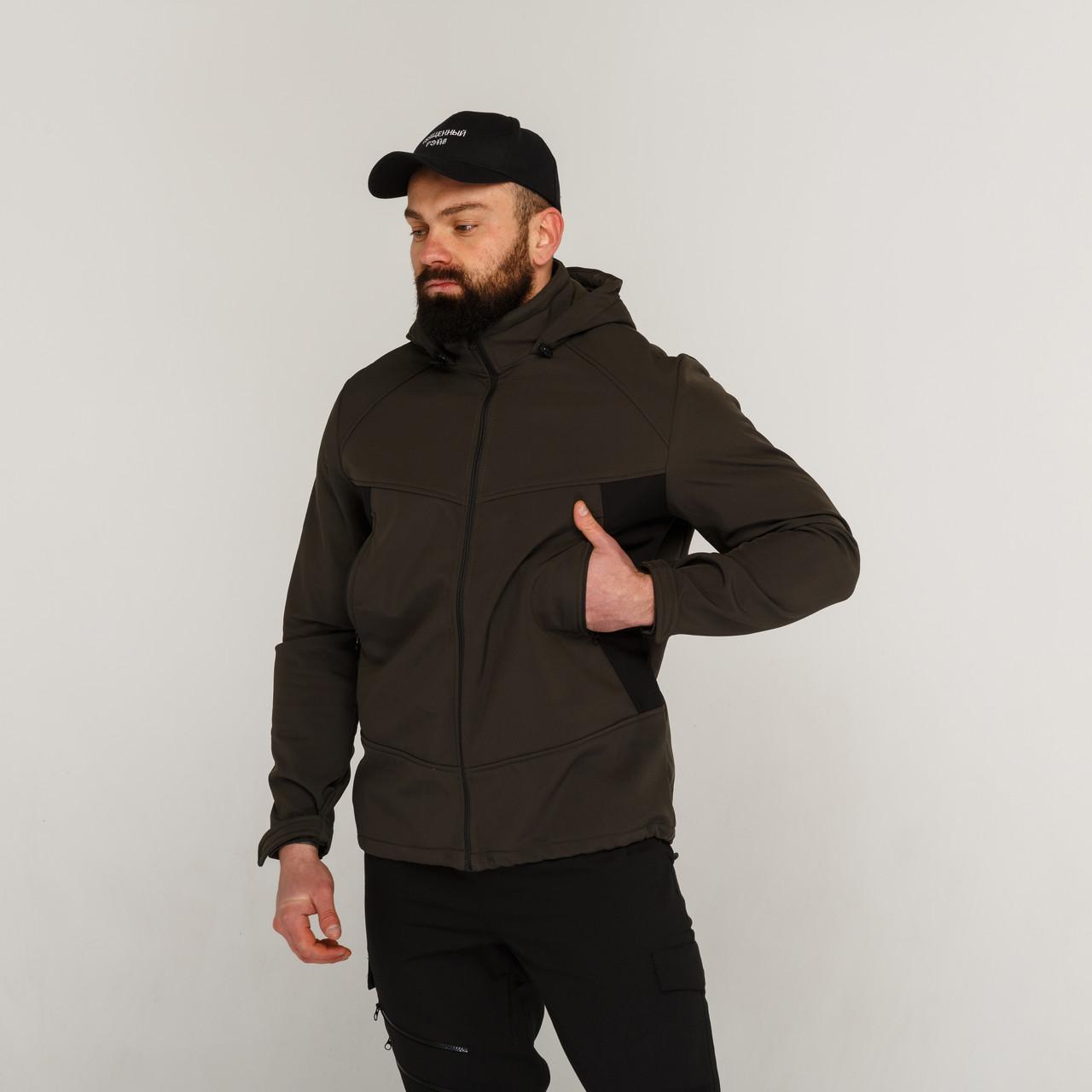 Демисезонная куртка мужская хаки +черный рукав от бренда ТУР модель Центурион (Cеnturion)