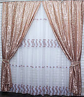 Комплект плотные шторы и гардина. е842(267т -090ш)., фото 1