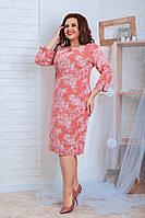 Женское платье 112 большой размер (52 54 56) (цвет коралл) СП, фото 1
