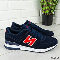 """Кроссовки мужские, синие в стиле """"New Balance"""" эко замша, мокасины мужские, кеды мужские, обувь мужская"""