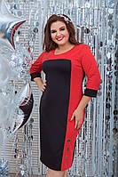 Женское платье 114 большой размер (50 52 54 56 58 60) (цвет черный с красным) СП, фото 1