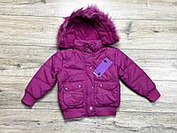 Теплая курткана синтепоне ( подкладка- флис). Съемный капюшон. 3- 5 лет.