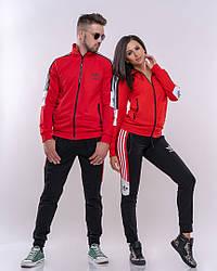 Парный спортивный костюм двойка, 2 костюма мужской+женский (Черный с красным).