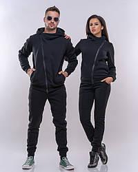Парный теплый спортивный костюм с косухой, 2 костюма мужской+женский.