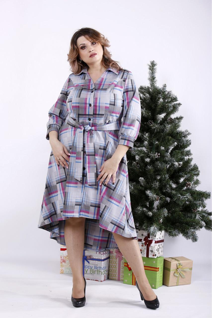 ❤/ Женское длинное платье-рубашка с узором 01321 / Размер 42-72 / Батал