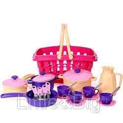 Набор посудки в корзине розовый ( 4449)