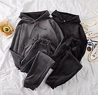Спортивный женский костюм бархатный Чёрный, 48-50