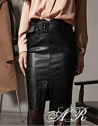 Женская юбка-миди  из эко кожи с поясом ,черного цвета