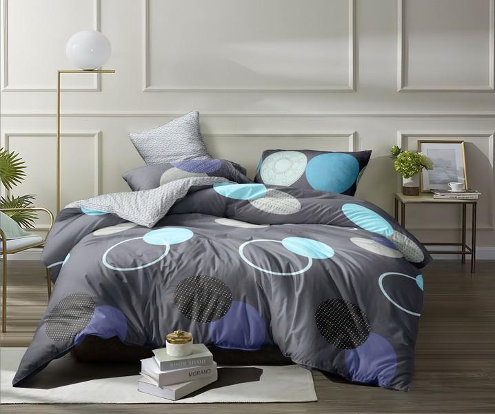 Евро комплект постельного белья «Круги на сером» 200х220 из сатина
