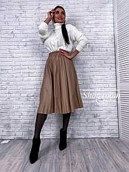 Женская юбка плиссе из эко кожи,цвет коричневый