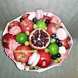 Фруктовий букет подарунковий вітальний для жінки з фруктів і квітів, фото 2