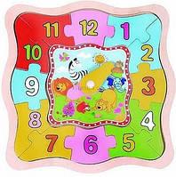Деревянная игрушка Часы с пазлами  MD 0524