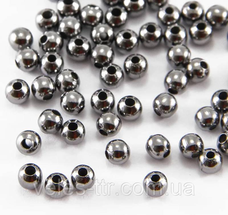 Бусина спейсер Шар металлическая разделитель черный 4 мм 40 шт железо