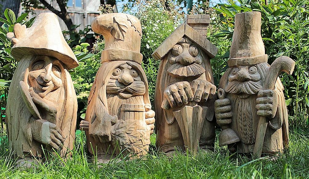 Скульптуры из дерева сказочных персонажей, ручная резьба по дереву (Hand Carved Artwork 06)