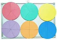 Дроби учебные от 1 до 6 частей d = 20 см ЦВЕТНЫЕ на магнитах из фанеры AS-7108, О-00015