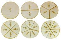 Дроби учебные от 1 до 6 частей d = 10 см из фанеры AS-7106, О-00014