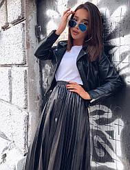 Женская стильная юбка плиссе из эко кожи,черный цвет